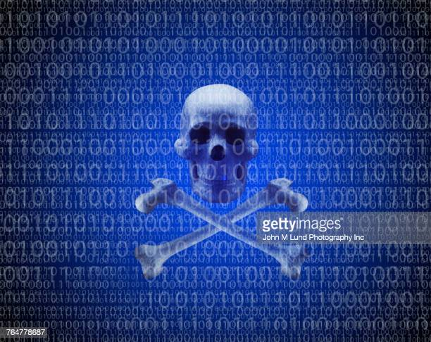 Skull and crossbones in binary code