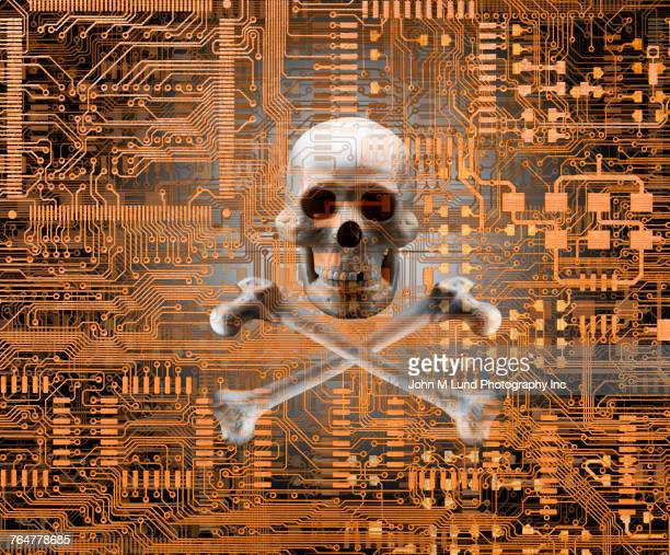 Skull and crossbones on circuit board