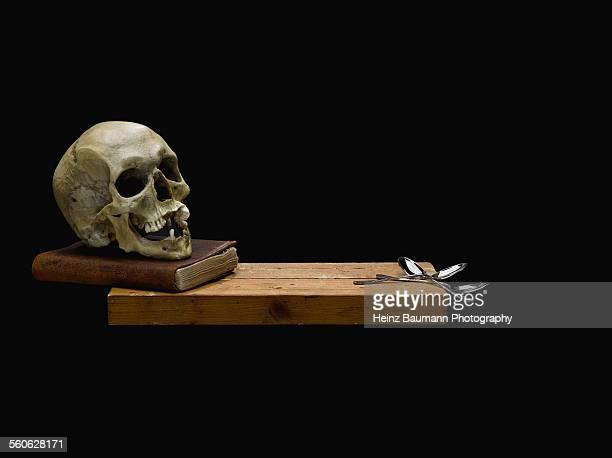 skull and silver spoons on black background - heinz baumann photography stock-fotos und bilder