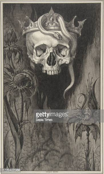 Skull Crowned with Snakes and Flowers, The Duchess of Malfi, circa 1930, Pen and ink, and wash, sheet: 6 1/8 x 9 1/2 in. , Drawings, Henry Weston...