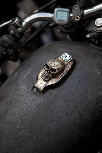 Skull Design On Motorcycle Ignition Wall Art