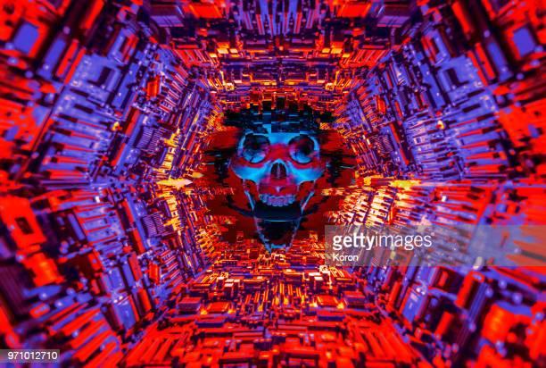 Skull Glitch Evil Artificial Intelligence