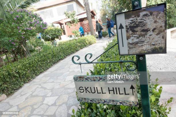 Skull Hill sign located in The Garden Tomb on 31st March 2016 in Jerusalem West Bank The Garden Tomb Skull Hill is a rockcut tomb in Jerusalem which...