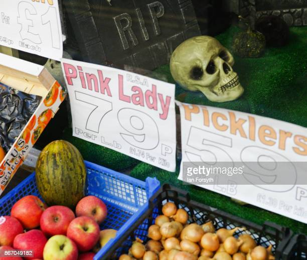Skull is displayed in a grocery shop during the Whitby Goth Weekend on October 27, 2017 in Whitby, England. The Whitby Goth Weekend began in 1994 and...