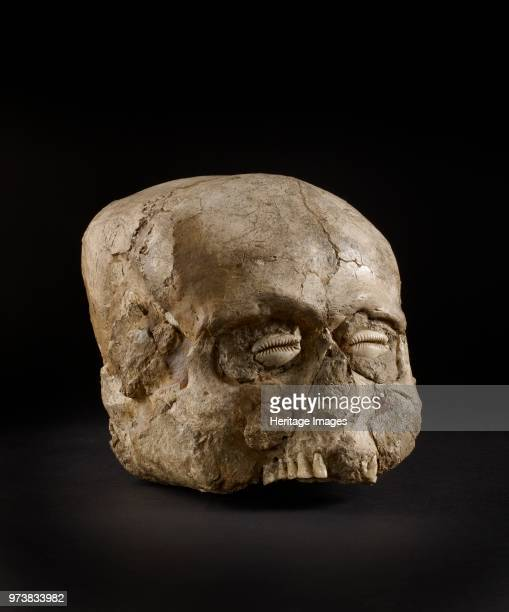 Skull Prepottery Neolithic B 73006300 BC Portrait skull the eye sockets cheeks and base of the skull being made up with clay on which no trace of a...