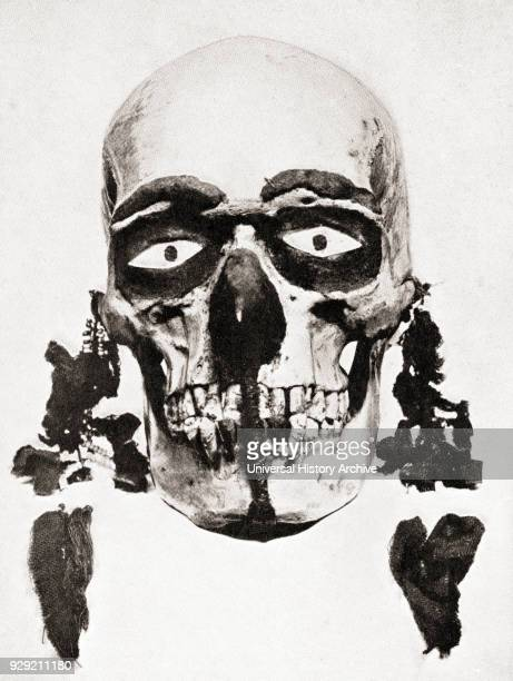 Skull preserved and decorated and used for divination on the Torres Straits Islands, Papua New Guinea, Melanesia. The inquirer would clean, paint and...