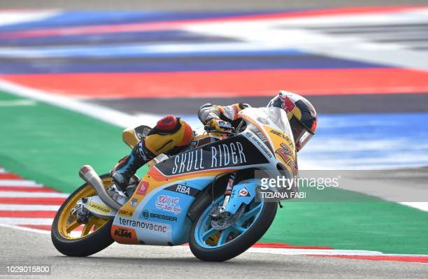 Skull Rider's team Japanese Kazuki Masaki take part in the free practice session of the San Marino Moto3 Grand Prix race at the Marco Simoncelli...