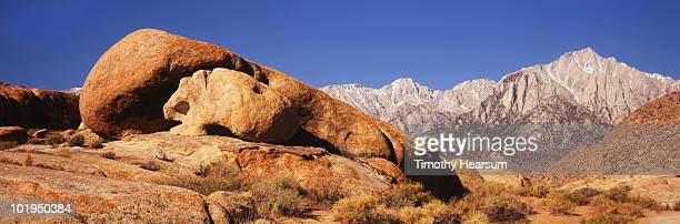 skull rock with high sierras in background - timothy hearsum stock photos and pictures