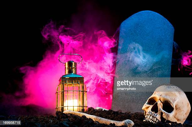 skull with lantern and tombstone - cmannphoto stock pictures, royalty-free photos & images