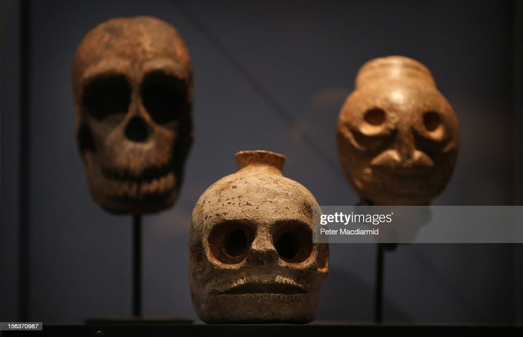 Skulls and skull shaped vessels are displayed at the Death: A Self-portrait exhibition at the Wellcome Collection on November 14, 2012 in London, England. The exhibition showcases 300 works from a unique collection by Richard Harris, a former antique print dealer from Chicago, devoted to the iconography of death. The display highlights art works, historical artifacts, anatomical illustrations and ephemera from around the world and opens on November 15, 2012 until February 24, 2013.
