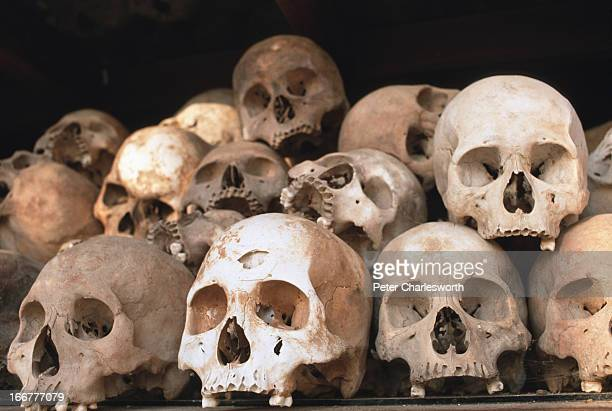 Skulls are piled up at a monument situated outside Phnom Penh to serve as a constant reminder of the genocide under the Khmer Rouge during the Pol...