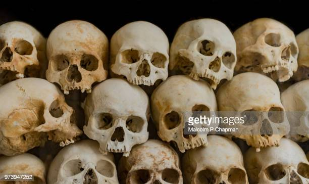 skulls at choeung ek memorial, killing fields, phnom penh - phnom penh stock pictures, royalty-free photos & images