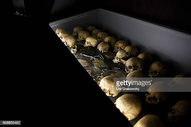 Skulls in a showcase at the memorial of the genocide on August 11 2016 in Kigali Rwanda