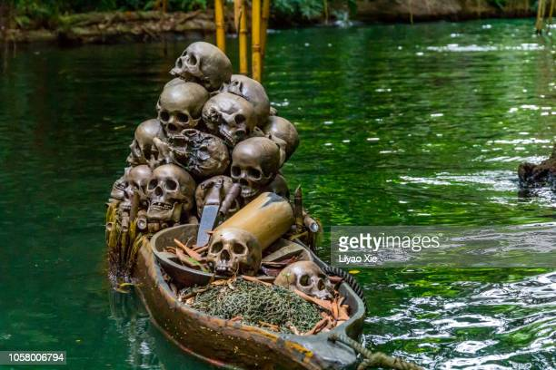 skulls on water - cannibalism stock photos and pictures