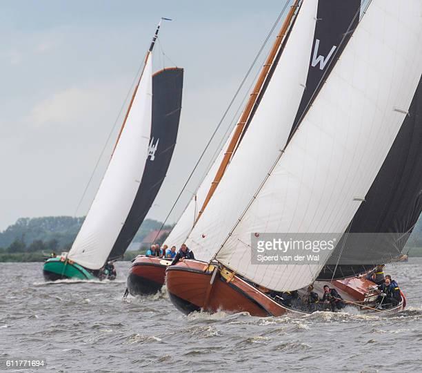 Skutsje classic sailboats during the Skutsjesilen races