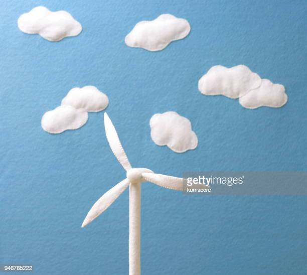 Sky background with wind turbines,made of felt