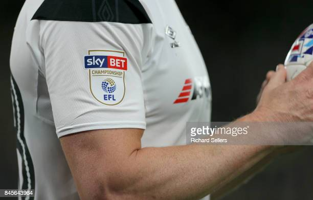 Sky bet EFL championship Logo on football shirt during the Sky Bet Championship match between Derby County and Hull City at the Derby County's Pride...