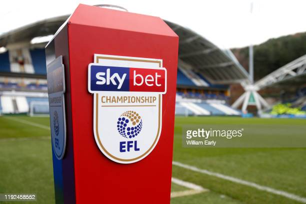 Sky Bet EFL Championship match ball stand before the Sky Bet Championship match between Huddersfield Town and Leeds United at John Smith's Stadium on...