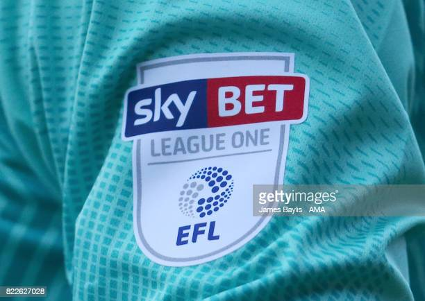 Sky Bet League One EFL badge on the goalkeeper shirt of Shrewsbury Town during the pre-season friendly between Shrewsbury Town and Cardiff City at...