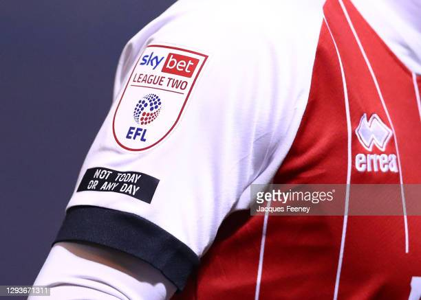 Sky Bet League Two badge on the sleeve of Alfie May of Cheltenham Town during the Sky Bet League Two match between Colchester United and Cheltenham...