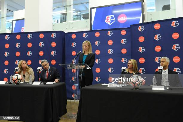 Sky Blue FC defender Christie Rampone NWSL Commissioner Jeff Plush managing director of operations for the NWSL Amanda Duffy CEO of AE Networks Nancy...