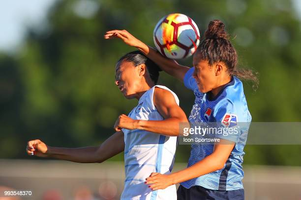 Sky Blue FC defender Domi Richardson goes up for a head ball against Chicago Red Stars midfielder Yuki Nagasato during the National Womens Soccer...