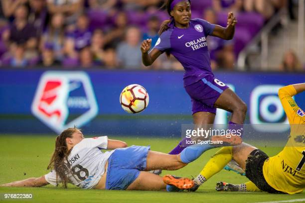 Sky Blue FC defender Erica Skroski and Sky Blue FC goalkeeper Kailen Sheridan collide during the soccer match between The Orlando Pride and Sky Blue...