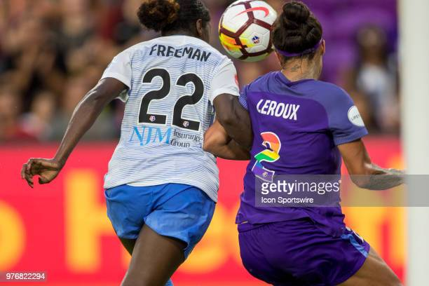 Sky Blue FC defender Mandy Freeman and Orlando Pride forward Sydney Leroux go for the ball during the soccer match between The Orlando Pride and Sky...