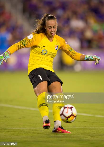 Sky Blue FC goalkeeper Kailen Sheridan clears a ball during the NWSL soccer match between the Orlando Pride and New Jersey Sky Blue FC on August 5th...