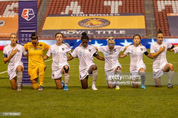 Sky Blue FC kneels during national anthem during a game between Sky Blue FC and Chicago Red Stars at Rio Tinto Stadium on July 22, 2020 in Sandy,...