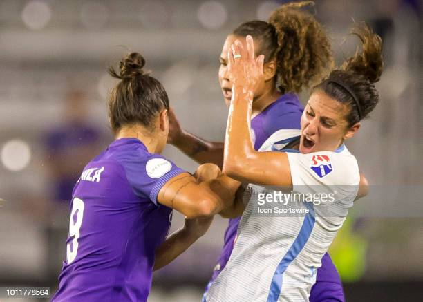 Sky Blue FC midfielder Carli Lloyd collide with Orlando Pride midfielder Camila during the NWSL soccer match between the Orlando Pride and New Jersey...