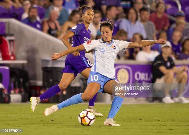 Sky Blue FC midfielder Carli Lloyd makes a long pass during the NWSL soccer match between the Orlando Pride and New Jersey Sky Blue FC on August 5th...