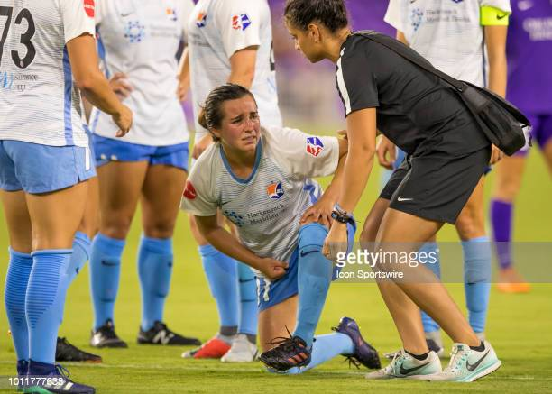 Sky Blue FC midfielder Christina Gibbons gets a wrist injury from a collision with Orlando Pride forward Chioma Ubogagu during the NWSL soccer match...