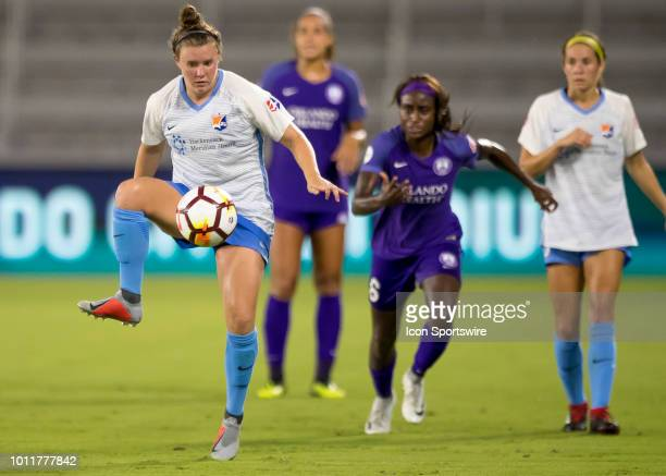 Sky Blue FC Savannah McCaskill during the NWSL soccer match between the Orlando Pride and New Jersey Sky Blue FC on August 5th 2018 at Orlando City...