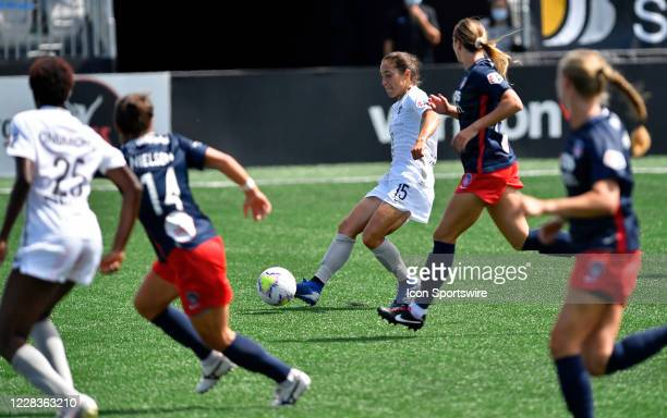 Sky Blue midfielder Sabrina Flores takes a shot on goal during the National Womens Soccer League Falls Series game between Sky Blue FC and Washington...