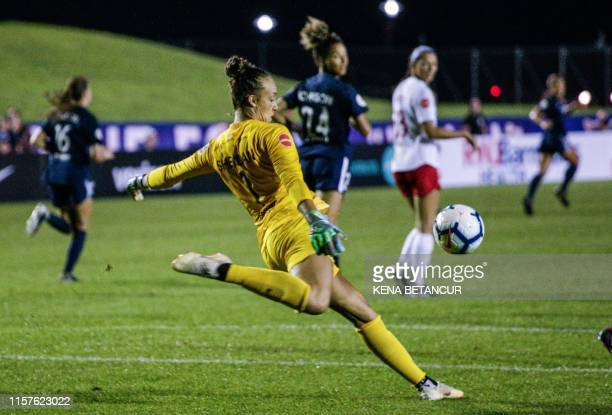 Sky Blue's Goalkeeper Kailen Sheridan kicks the ball back into play during the National Womens Soccer league match between Sky Blue and Washington...