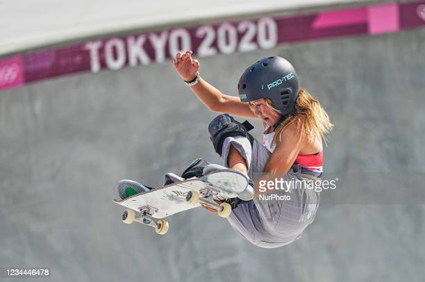 Sky Brown from Great Britain during women's park skateboard at the Olympics at Ariake Urban Park, Tokyo, Japan on August 4, 2021.