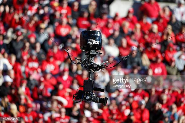 A sky cam i operated over the field during a game against the UCLA Bruins and the Utah Utes during the first half at Rice Eccles Stadium on November...