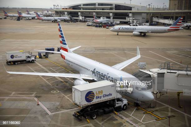 LSG Sky Chefs LLC catering is loaded onto an American Airlines Group Inc plane at DallasFort Worth International Airport in Grapevine Texas US on...