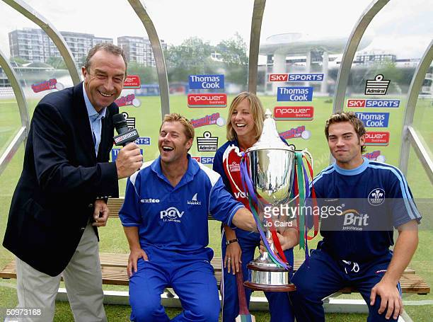 Sky commentator David Lloyd Ian Ward of Sussex England womens international Clare Connor and James Benning of Surrey pose with the trophy during the...