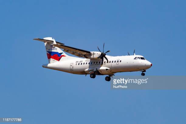 Sky Express ATR 42-500 turbopropeller aircraft with registration SX-JOY landing at Athens International Airport AIA Eleftherios Venizelos LGAV / ATH...