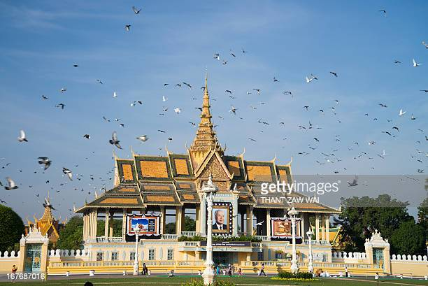Sky filled with distracted pigeons in front of the Royal Palace in Phnom Penh, Cambodia.
