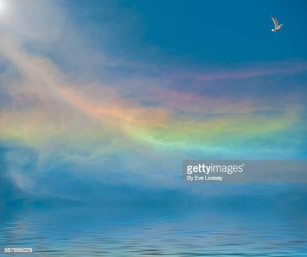 Sky iridescence over the sea