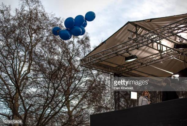 Sky journalist Kay Burley looks towards balloons set afloat by antiBrexit campaigners as she stands in the SKY TV stand on College Green outside the...