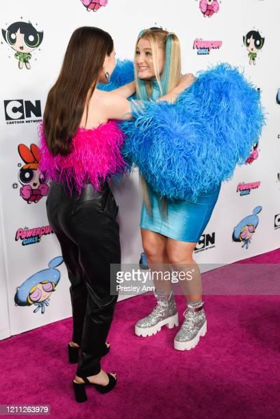Sky Katz and Meghan Trainor attend Christian Cowan x Powerpuff Girls Runway Show on March 08, 2020 in Hollywood, California.