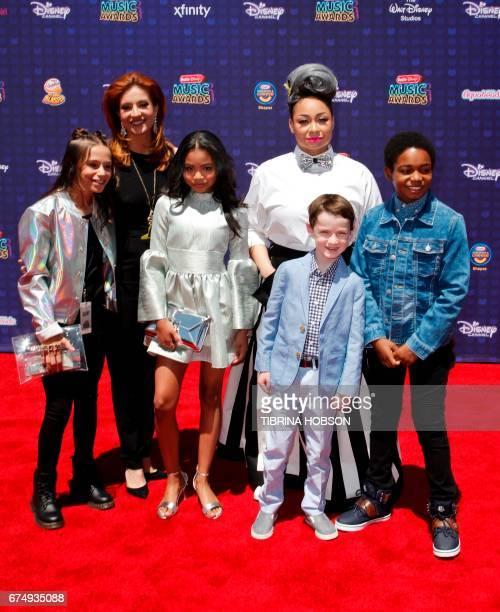 Sky Katz Anneliese van der Pol Navia Ziraili Robinson Jason Maybaum RavenSymone and Issac RyanBrown attend the Radio Disney Music Awards at the...