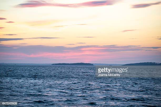 sky, land, sea - sag harbor stock photos and pictures