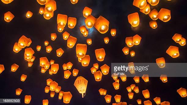 sky lantern festival taiwan - 台湾 ストックフォトと画像