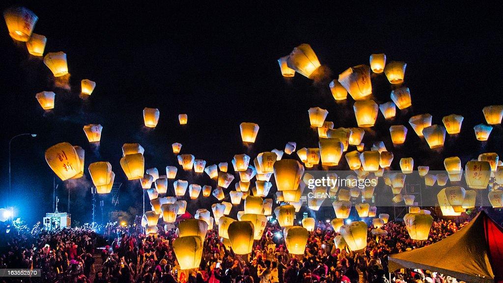 Sky lantern festival taiwan : Stock Photo