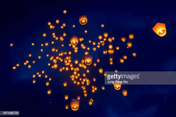 sky lantern group - taiwan stock photos and pictures